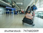 trolley luggage  airport for... | Shutterstock . vector #747682009