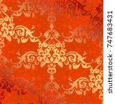vector illustration. damask... | Shutterstock .eps vector #747683431