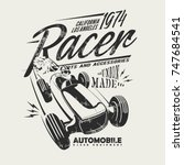retro racing car silhouette... | Shutterstock .eps vector #747684541