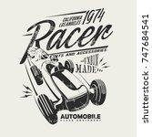 retro racing car silhouette... | Shutterstock .eps vector #747684541