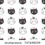 Stock vector vector seamless pattern with adorable cat faces on isolated background 747698539