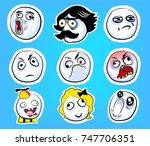 set of emotional stickers with... | Shutterstock .eps vector #747706351