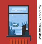 window with cat and view of the ... | Shutterstock .eps vector #747707749