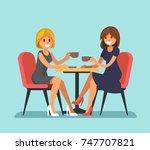two beautiful women sitting in... | Shutterstock .eps vector #747707821