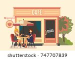 Summer cafe and two girl. Street restaurant. Vector | Shutterstock vector #747707839