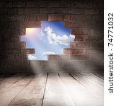 blue sky with sunlight through... | Shutterstock . vector #74771032
