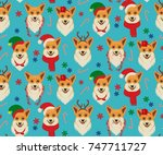 seamless christmas pattern with ... | Shutterstock .eps vector #747711727