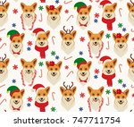 seamless christmas pattern with ... | Shutterstock .eps vector #747711754