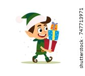 the boy in the suit of santa's... | Shutterstock .eps vector #747713971