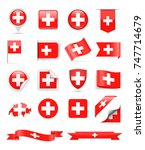 switzerland flag set   vector... | Shutterstock .eps vector #747714679