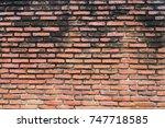 old vintage brick wall grunge... | Shutterstock . vector #747718585