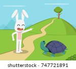 Stock vector rabbit invite tortoise to competition vector design 747721891