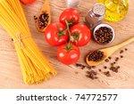 pasta spaghetti with tomatoes ... | Shutterstock . vector #74772577