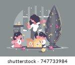 mother with children daughter... | Shutterstock .eps vector #747733984