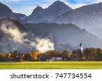 sunny autumn view of alpine... | Shutterstock . vector #747734554