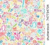 cute kids seamless pattern with ... | Shutterstock . vector #747734734