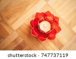 Red Lotus Candle Holder On...