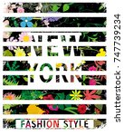 new york typography with floral ... | Shutterstock .eps vector #747739234