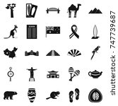attraction icons set. simple... | Shutterstock . vector #747739687