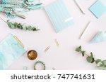 flat lay home office desk.... | Shutterstock . vector #747741631