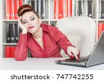 boring business woman working... | Shutterstock . vector #747742255