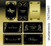 vintage gold card set | Shutterstock .eps vector #74774497