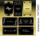 vintage gold card set | Shutterstock .eps vector #74774497