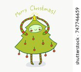 cute christmas tree adorned... | Shutterstock . vector #747746659
