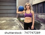 fitness woman exercising... | Shutterstock . vector #747747289
