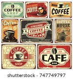 coffee signs and labels... | Shutterstock .eps vector #747749797