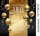 christmas party golden design...   Shutterstock .eps vector #747758737