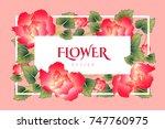 vintage floral greeting card...   Shutterstock .eps vector #747760975