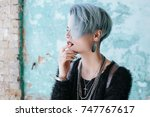 portrait of beautiful freaky... | Shutterstock . vector #747767617