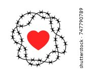 barrier made of barbed wire as... | Shutterstock .eps vector #747790789
