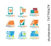 set of shopping cart logo and... | Shutterstock .eps vector #747795679