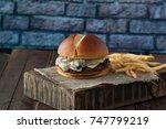 fresh homemade burger with...   Shutterstock . vector #747799219