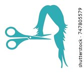 woman haircutting icon | Shutterstock .eps vector #747805579
