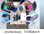 young people team working ... | Shutterstock . vector #747808219