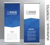 blue roll up business brochure... | Shutterstock .eps vector #747809701