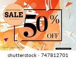 sale advertisement banner with... | Shutterstock .eps vector #747812701
