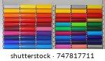 colour vinyl pvc plastic foils | Shutterstock . vector #747817711