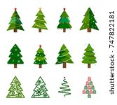 set of abstract christmas... | Shutterstock .eps vector #747822181