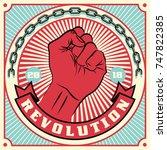 raised protest human fist.... | Shutterstock . vector #747822385