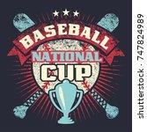 baseball grunge vintage poster... | Shutterstock . vector #747824989