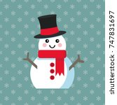 funny cartoon snowman  vector... | Shutterstock .eps vector #747831697
