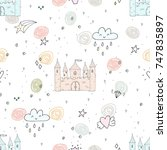 adorable seamless pattern with... | Shutterstock .eps vector #747835897