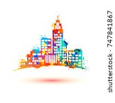 city. vector icon. watercolor... | Shutterstock .eps vector #747841867