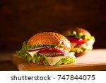 closeup of traditional... | Shutterstock . vector #747844075
