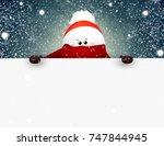 happy smiling snowman standing... | Shutterstock .eps vector #747844945
