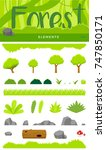 cartoon forest elements set.... | Shutterstock .eps vector #747850171